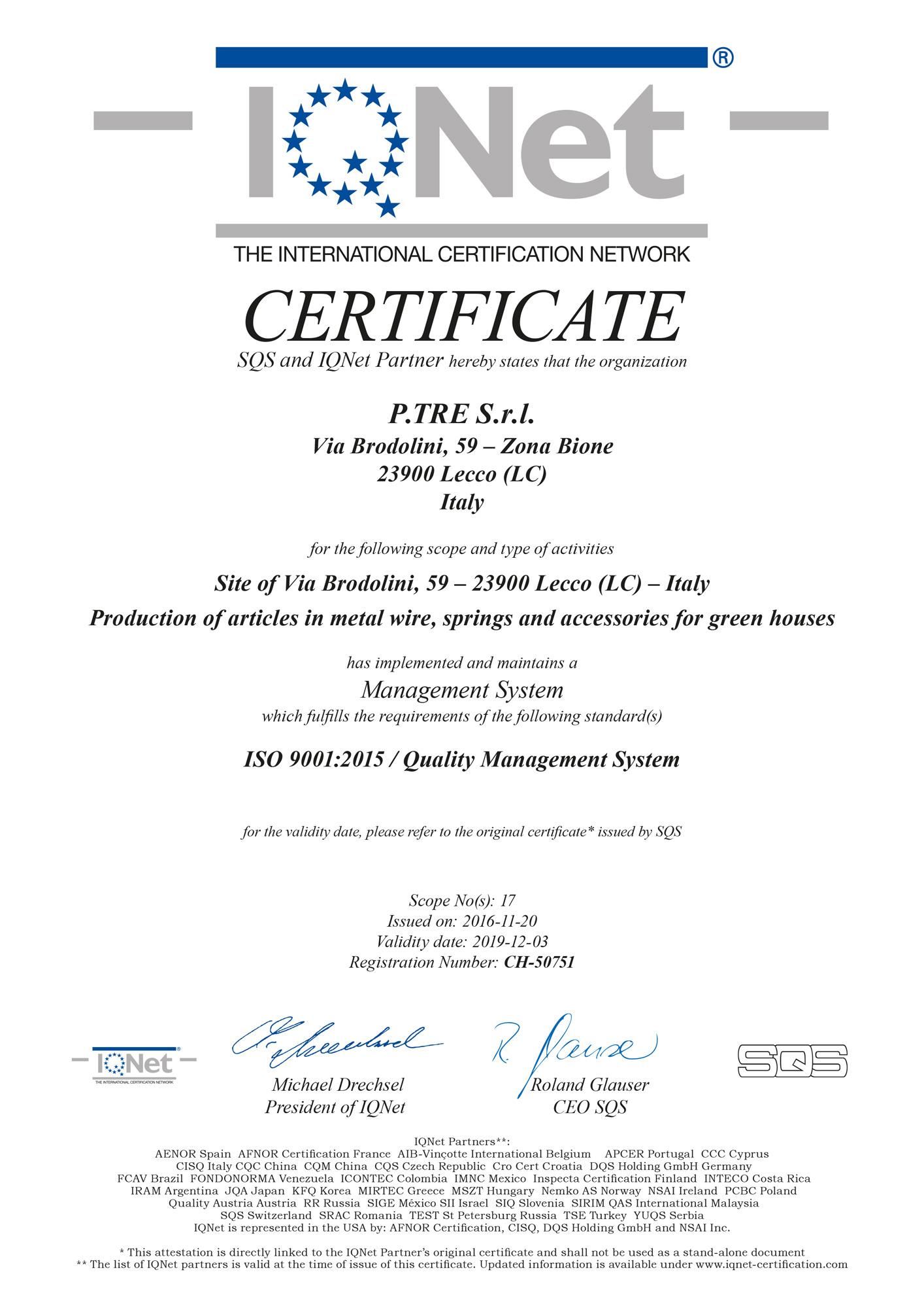 certificato 319820 iq 9001 16 - La Empresa