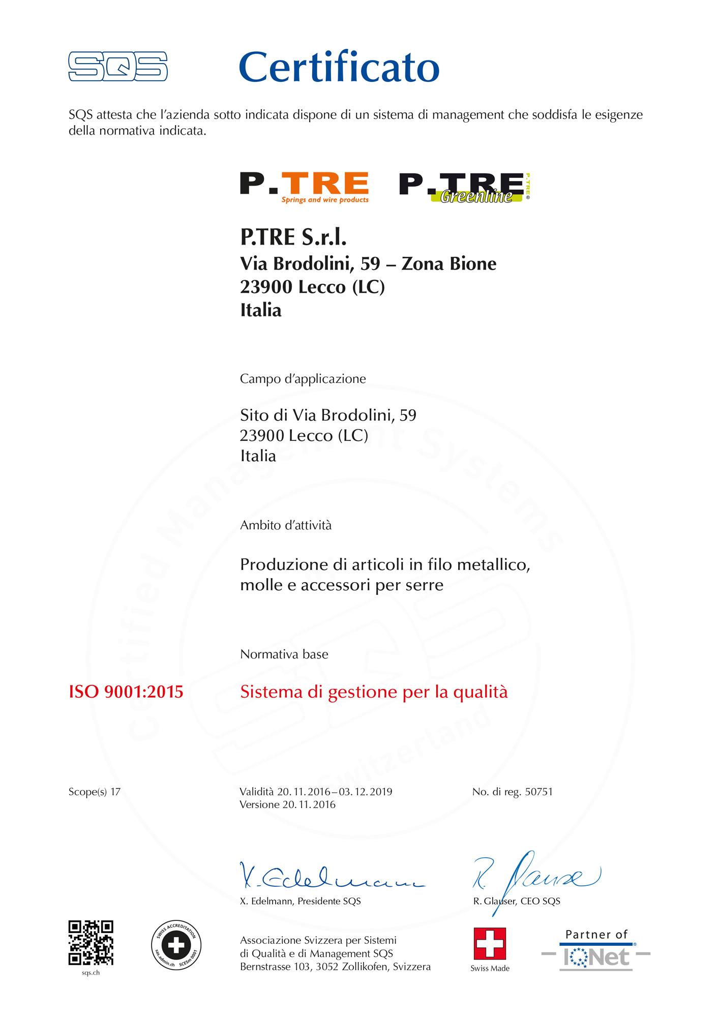 certificato 319820 it 9001 16 - La Empresa