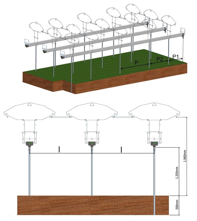 Disegni Tecnici sistemi di Canalina Frutta Minitunnel